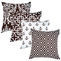 ACCENTHOME Accent Home Square Printed Cotton Cushion Cover,Throw Pillow Case, Slipover Pillowslip for Home Sofa Couch Chair Back Seat,4pc Pack 18x18 in Grey Color