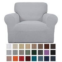 Easy-Going Stretch Chair Sofa Slipcover 1-Piece Couch Sofa Cover Furniture Protector Soft with Elastic Bottom for Kids. Spandex Jacquard Fabric Small Checks(Chair,Snow White)