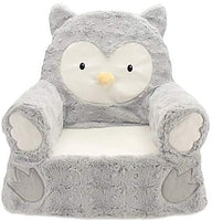 "14"" L x 19"" W x 20"" H 100 lb. Weight Capacity Plush Owl Sweet Seat Chair in Grey"