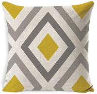 DUSEN Farmhouse Modern Simple Geometric Style Cotton Linen Burlap Square Cushion Covers for Sofa, Bench, Bed, Auto Seat, 18 x 18 Inches, Set of 4 Throw Pillows Home Decor (Yellow-Gray Geometric)