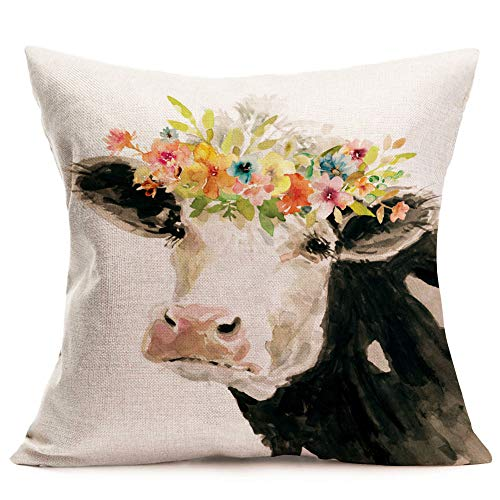 Asamour Animal Flowers Throw Pillow Covers Adorable Bos Grunniens with Beautiful Floral Leaves Cotton Linen Farmhouse Decorative Cushion Cover 18''x18'' Square Accent Pillow Cases for Sofa Couch