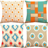 ZUEXT Set of 4 Decorative Throw Pillow Covers 18 x 18 Inch Double Side Design, Square Cotton Linen Orange Tangerine Blue Aqua Turquoise Modern Throw Toss Accent Pillow Cases for Car Couch Home Decor