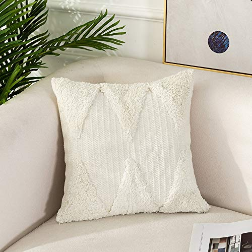 Tiffasea Boho Throw Pillow Covers 20x20 inch, Decorative Pillows Cases Neutral Tufted Farmhouse Decor Rumi Shag Embroidered Accent Cushion Cover for Bed Sofa Living Room Bedroom Christmas, Cream