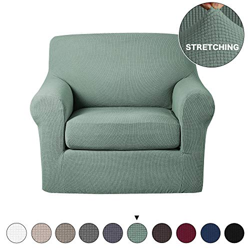 Turquoize Chair Slipcover 2 Piece Sofa Covers Skid Resistance Jacquard Spandex Couch Covers, Knitted Jacquard, High Stretch, Couch Slipcover/Protector/Shield for Dog Cat Pets(Chair, Sand)