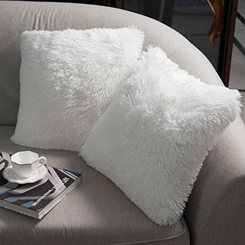 "NordECO HOME Luxury Soft Faux Fur Fleece Cushion Cover Pillowcase Decorative Throw Pillows Covers, No Pillow Insert, 18"" x 18"" Inch, White, 2 Pack"