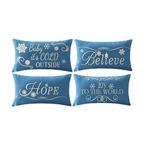 ITFRO Set of 4 Christmas Birthday Gift Believe Joy Hope Baby its Cold Outside Snowflakes Blue Lumbar Cotton Burlap Linen Throw Pillowcase Cushion Cover Sofa Decorative Rectangle 12x20 Inches (Blue)