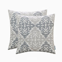 HWY 50 Cotton Linen Grey Gray Decorative Embroidered Throw Pillows Covers Set Cushion Cases for Couch Sofa Bed 18 x 18 inch Pack of 2 Geometric