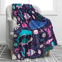 "Jekeno Ocean Animal Blanket Smooth Soft Starfish Shark Turtle Print Blanket Kid Baby for Sofa Chair Bed Office Travelling Camping 50""x60"""