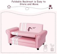 Costzon 2 Seat Kids Sofa, Foldable PVC Leather Princess Style Kids Couch, Wooden Construction, Upholstered Toddler Armchair, Pink