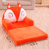 Olpchee Foldable Plush Children's Sofa Backrest Chair Cute Cartoon Infant Baby Seat for Living Room Bedroom (Corgi)