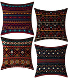 FeelAtHome Throw Pillow Covers Cases 18 x 18 Inches Set of 4 (Boho Accent) - Cozy Decorative Throw Pillow Cases for Home, Couch, Sofa, Bed - 4PCS Zip Accent Pillow Cover 100% Quality Linen Fabric