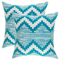 TreeWool Decorative Square Throw Pillowcases Set Ikat Chevron Accent 100% Cotton Cushion Cases Pillow Covers (22 x 22 Inches / 55 x 55 cm; Grey & White) - Pack of 2