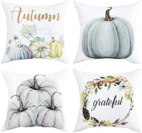 Autumn Decorations Pumpkin Throw Pillow Cover Cushion Couch Cover Pillow Cases Set of 4 for Autumn Halloween Thanksgiving Day (Blue-gray,18 X 18 Inch)