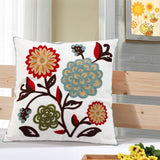 Oneslong Throw Pillow Case Covers - 100% Cotton, Decorative Floral Embroidered Design on Solid Natural White Background for Couch, Sofa, Bed - 18 x 18 Inches - Cushion Not Included
