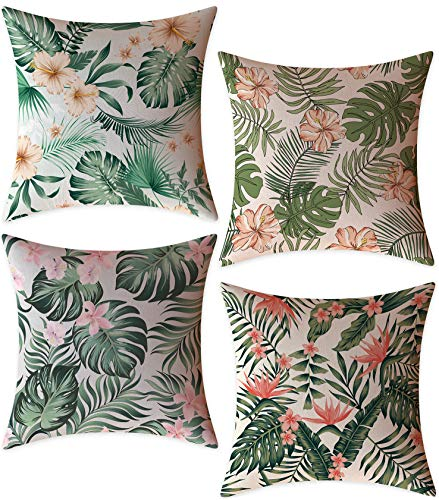 FeelAtHome Throw Pillow Covers Cases 18 x 18 Inches Set of 4 (Floral Cream) - Cozy Decorative Throw Pillow Cases for Home, Couch, Sofa, Bed - 4PCS Zip Accent Pillow Cover 100% Quality Linen Fabric