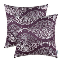 CaliTime Pack of 2 Throw Pillow Covers Cases for Couch Sofa Home Decoration Vintage Yin and Yang Contrast Striped Damask Floral 18 X 18 Inches Aubergine