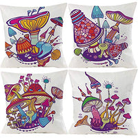 Wilproo Mushroom Decorative Throw Pillow Cushion Cover Square Accent Pillow Case 18 X 18 Inches Light Pink Purple Set of 4