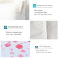 HIPPIH Standard Pillow Cases Set of 2, 20 X 26 Inch White Breathable Pillow Protectors, 100% Waterproof Zippered Pillowcase, Machine Washable Pillow Encasement for Couch, Bed, Car, Bench