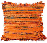"Eyes of India - 20"" Orange Chindi Rag Rug Pillow Sofa Cushion Cover Couch Indian Bohemian Accent Colorful Boho Chic Handmade Cover ONLY"
