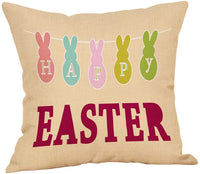 Fbcoo Farmhouse Holiday Decorative Throw Pillow Case Happy Easter Bunny Cushion Cover Home Decor 18 x 18 Inch Cotton Linen for Sofa Couch