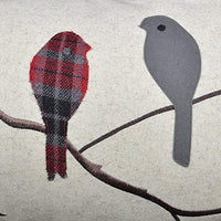 JWH Birds Accent Pillow Case Applique Hand Emobroidery Cushion Cover Wool Decorative Pillowcase Home Sofa Car Bed Living Room Decor Sham Gift 14 x 24 Inch Light Gray with Red Plaid Birds on Branch