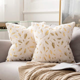 MIULEE Pack of 2 Decorative Throw Pillow Covers Plush Faux Fur with Gold Feathers Gilding Leaves Cushion Covers Cases Soft Fuzzy Cute Pillowcase for Couch Sofa Bed, 18 x 18 Inch, Ivory