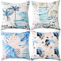 ZUEXT Geometric Throw Pillow Covers 18x18 Inch Double Side Design, Set of 4 Cotton Linen Indoor Outdoor Modern Accent Pillow Case Cushion Cover for Car Sofa Home Decor (Navy Grey Floral,Mix & Match)