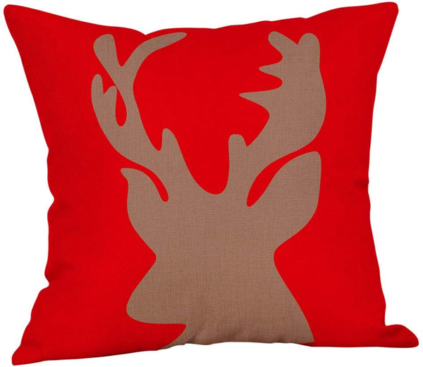 "Softxpp Reindeer Deer Head Throw Pillow Cover Red Christmas Sign Winter Holiday Decor Cushion Case Decorative for Sofa Couch 18"" x 18"" Inch Cotton Linen"