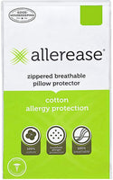 "AllerEase 100% Cotton Allergy Protection Pillow Protectors – Hypoallergenic, Zippered, Allergist Recommended, Prevent Collection of Dust Mites and Other Allergens, 20"" x 26"" (Set of 2), White"