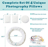 Newborn Photography Props | Baby Photo Props | (Large Size) Ultra-Soft Baby Donut Posing Pillow | Infant Posing Props for Boy or Girl | Free 12 PCS Baby Month Sticker(Fits Birth-6 Months)