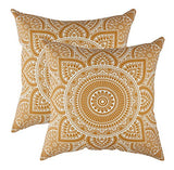 TreeWool Decorative Square Throw Pillowcases Set Mandala Accent 100% Cotton Cushion Cases Pillow Covers (18 x 18 Inches / 45 x 45 cm; Orange in Cream Background) - Pack of 2