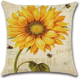 XIECCX Throw Pillow Covers Farmhouse Countryside Sunflower Decorative Sunshine Pillowcases 4 Pack - Soft Linen Cotton Design Cushion Cover for Sofa,Bedroom,Chair,Car Seat,Farmhouse 18 x 18