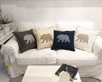 Millianess Bear Pillow Case Decorative Cotton Linen Embroidered Cushions Covers 18x18 Inches (Grey)