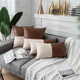 DEZENE 2 Pack Faux Leather with Cotton Linen Decorative Throw Pillow Covers for Couch Sofa Car, Accent Square Pillow-Cases for Cushion Covers, 18 x 18 Inch