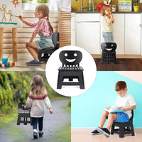 ACSTEP Acko Folding Step Stool with Back Support for Kids,9 inch Perfect Height for Toddler Toilet Training Mommy Helper Black