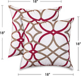H.VERSAILTEX Pillows Cover 2 Pack 18 x 18 inch Decorative Throw Pillows Machine Washable Ultra-Luxury Durable Velvet Plush Pillowcase for Hair and Skin with Hidden Zipper, Taupe and Red Geo Pattern