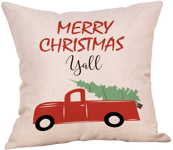 "Softxpp Merry Christmas Yall Vintage Red Truck with Tree Throw Pillow Cover Winter Holiday Decor Cushion Case Decorative for Sofa Couch 18"" x 18"" Inch Cotton Linen"