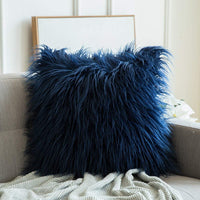MIULEE Decorative New Luxury Series Style Dark Blue Faux Fur Throw Pillow Case Cushion Cover for Sofa Bedroom Car 24 x 24 Inch 60 x 60 cm