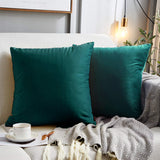 MUDILY Pack of 2 Velvet Soft Decorative Square Throw Pillow Covers Cushion Case for Sofa Chair Bedroom Car, Teal 16 x 16 Inch 40 x 40 cm