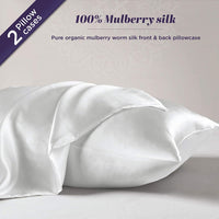 Hyde Lane 100 Pure Mulberry Silk Pillowcase for Hair and Skin | Premium 25 Momme Organic Worm Silk Pillow Case, Hypoallergenic with Hidden Zipper - 1 Pack (Standard 20x26 Natural White)