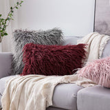 MIULEE Decorative New Luxury Series Style Faux Fur Throw Pillow Case Cushion Cover for Sofa Bedroom Car 12 x 20 Inch Blush Pink