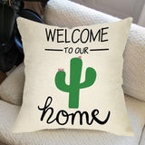 "Ussap Welcome to Our Home Summer Decoration Rustic Farmhouse Decorative Throw Pillow Cover Cushion Case for Sofa Couch Saguaro Cactus Sign Home Decor Cotton Linen 18"" x 18"" in"