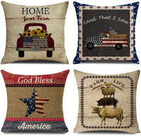 NYDECOR Farmhouse Throw Pillow Covers American Flag Pillow Case Quotes Cotton Linen Rustic Farm Cushion Cover for Couch Sofa Bed 18x18 Set of 4 Housewarming Gifts