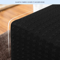 subrtex Rectangle Oversized Slipcovers Sofa Slip Covers for Footstool Furniture Protector for Storage Ottoman Pattern, Black Embossed