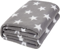 "Dreamscene Flannel Fleece Stars Throw Over Bed Warm Soft Blanket Plush for Baby Kids Sofa, Silver Grey - 50"" x 60"" inch"