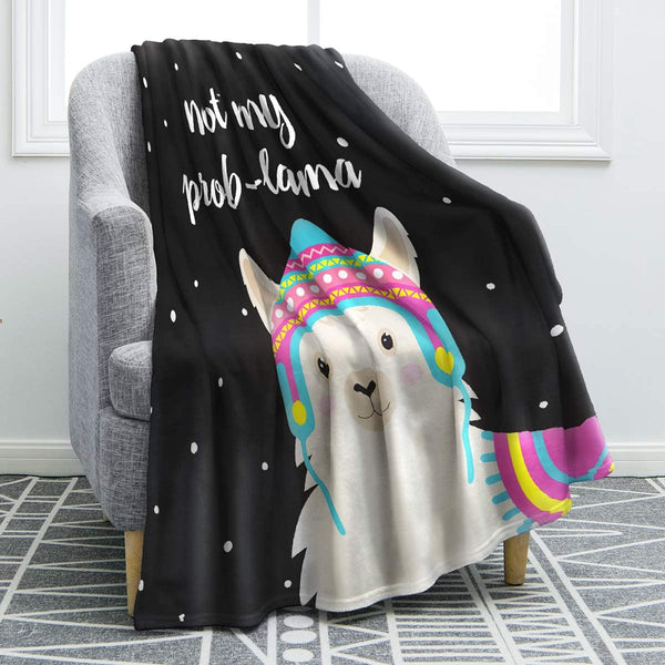 "Jekeno Llama Alpaca Print Throw Blanket Cute Soft Blanket Kid Baby for Sofa Chair Bed Office Travelling Camping 50""x60"""