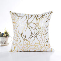 wanerxin White Sofa Throw Pillow Covers 18 x 18 (45cm x 45cm) Gold Stamping Love Tree Geometric Square Decorative Super Soft Cushion Cover for Sofa Couch Patio Set of 2 (Irregular and Irregular)