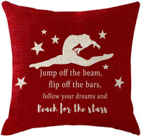ITFRO Girls Bedroom Gymnastics Present Stars Jump Off The Beam Flip Off The Bars Follow Your Dreams Couch Sofa Decorative Body Black Burlap Pillowcase Pillow Shams Cushion Shell Square 45x45cm
