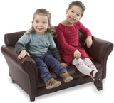 "Melissa & Doug Child's Sofa, Coffee, Brown Faux Leather Children's Furniture (Kid-Sized Sofa, 34.4"" H x 20.5"" W x 18.3"" L, Great Gift for Girls and Boys - Best for 3, 4, 5 Year Olds and Up)"