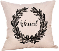 "Softxpp Blessed Olive Wreath Throw Pillow Cover Rustic Farmhouse Style Winter Holiday Decor Cushion Case Decorative for Sofa Couch 18"" x 18"" Inch Cotton Linen"